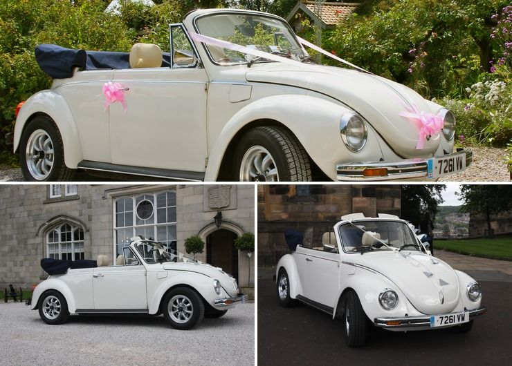 Summer Wedding? We offer a vintage VW Beetle Cabriolet in white.