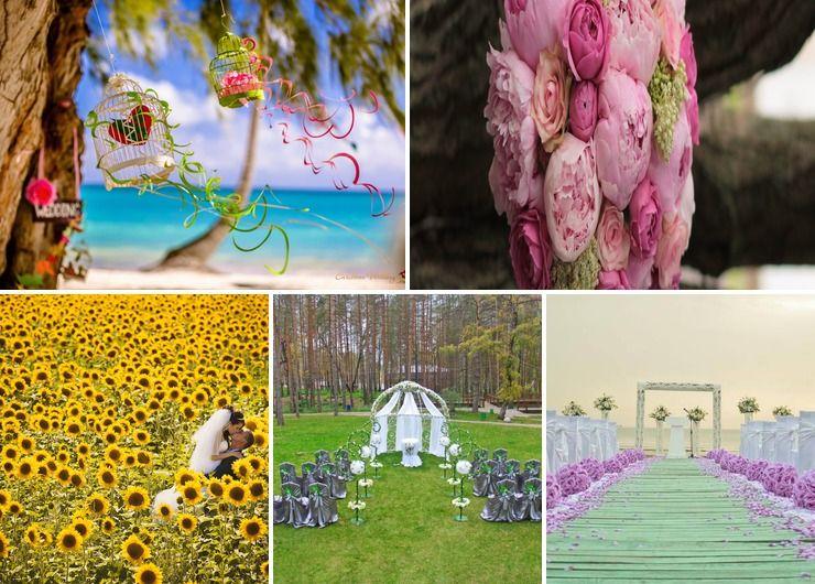 Outdoor summer wedding ceremony decor