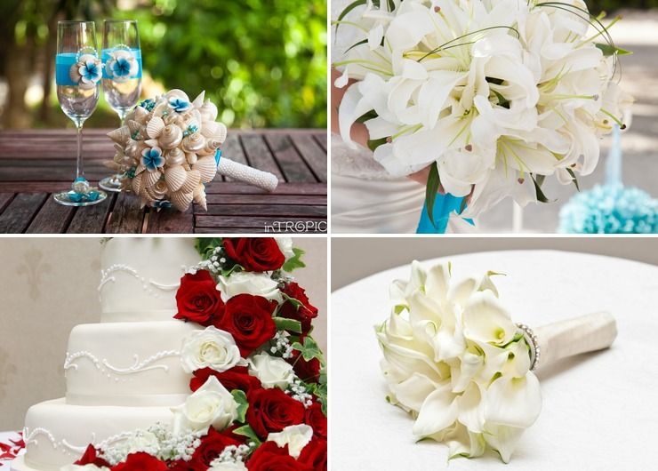 Marine white lilly wedding bouquet