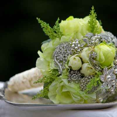 Vintage green rose wedding bouquet