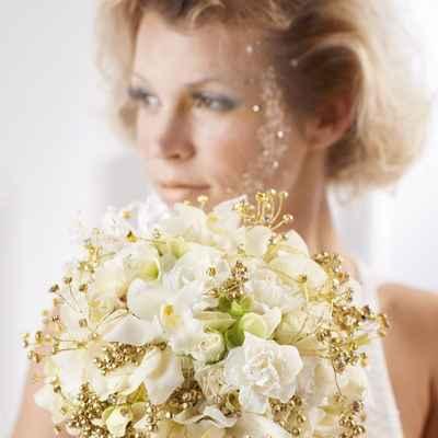Gold carnation wedding bouquet