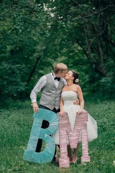 Pink wedding signs