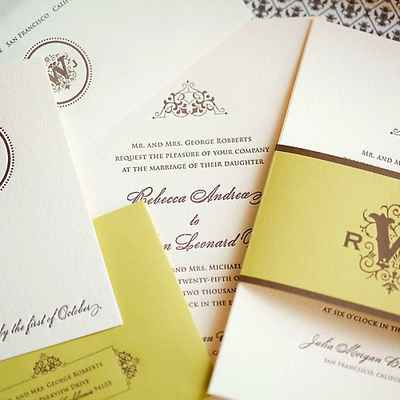 English ivory wedding invitations