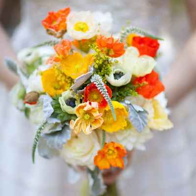 Autumn orange anemone wedding bouquet