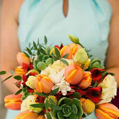 Autumn orange tulip wedding bouquet