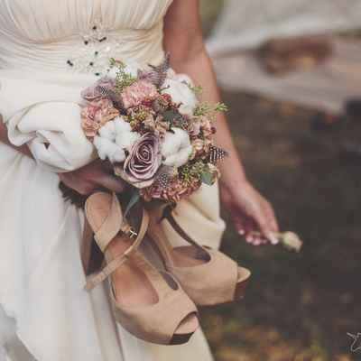 Rustic brown rose wedding bouquet
