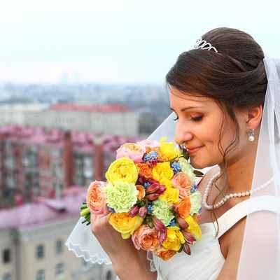 Yellow alstroemeria wedding bouquet