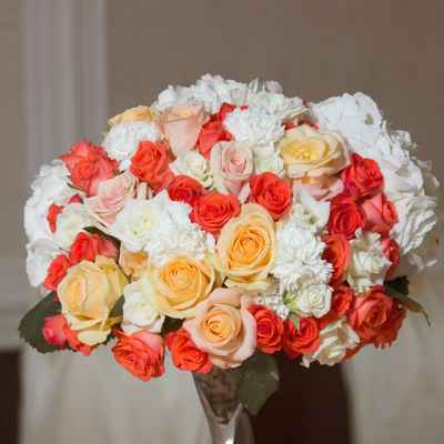 Ivory carnation wedding bouquet
