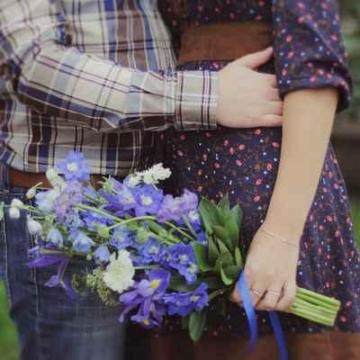 Blue vials wedding bouquet