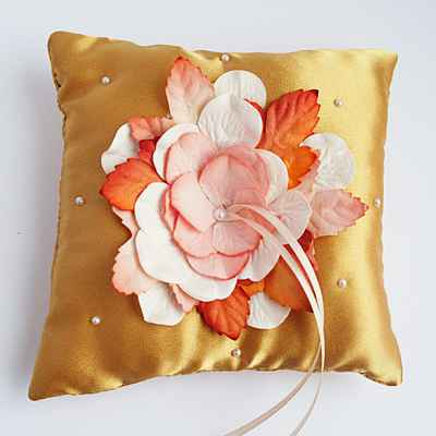 Yellow wedding ring pillows