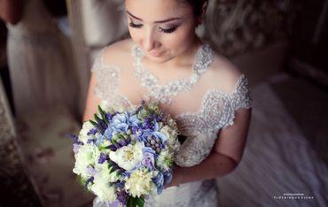 Blue peony wedding bouquet