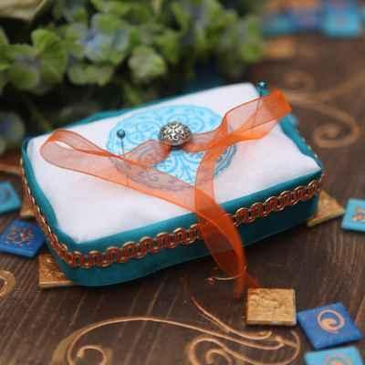 Orange wedding ring pillows