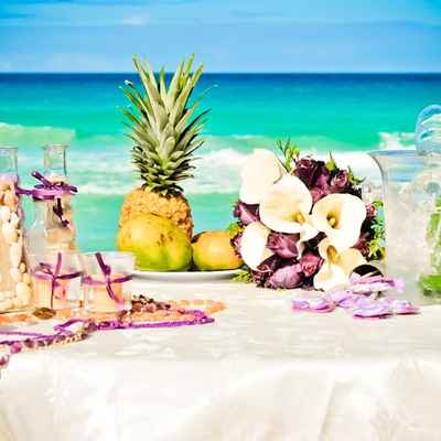 Beach pink wedding reception decor