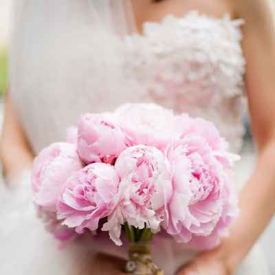 French pink peony wedding bouquet