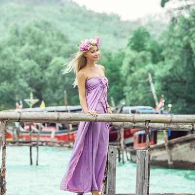 Beach purple open wedding dresses