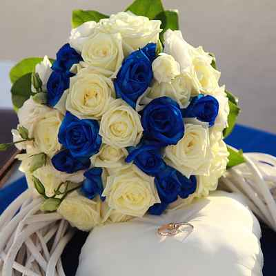 Blue rose wedding bouquet