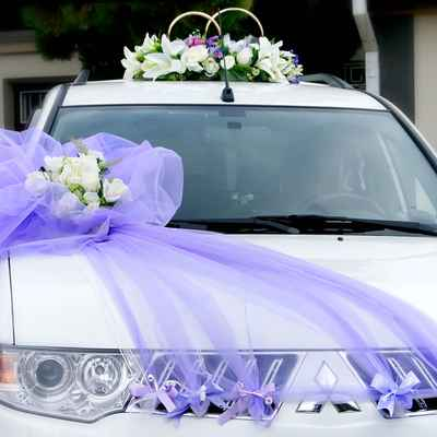 Purple wedding transport decor