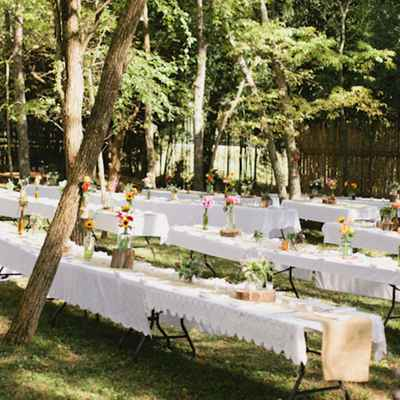 Rustic summer wedding reception decor