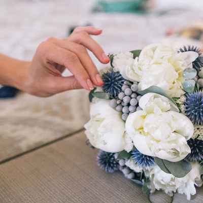 Grey peony wedding bouquet