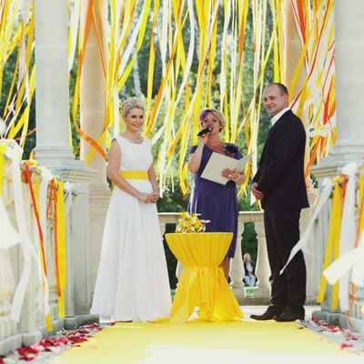 Yellow wedding ceremony decor
