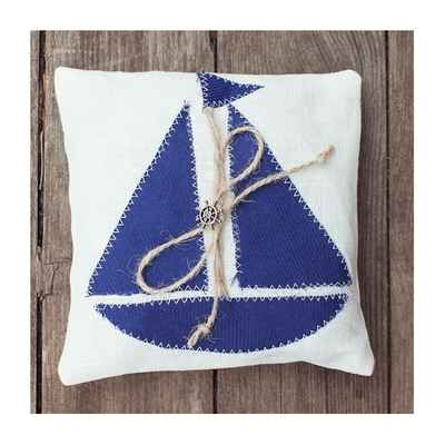 Marine blue wedding ring pillows