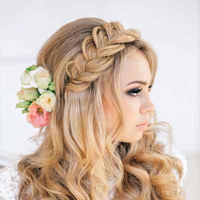 Mediterranean pink long wedding hairstyles