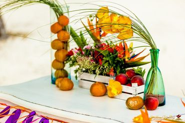 Beach orange wedding floral decor