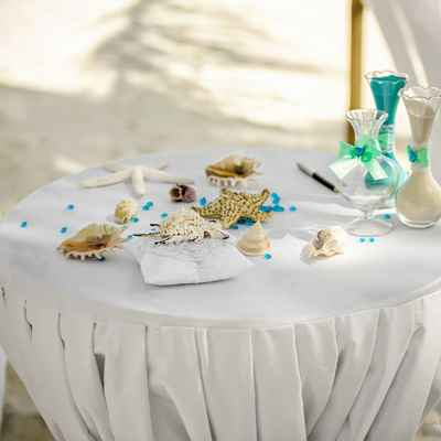 Marine blue wedding ceremony decor