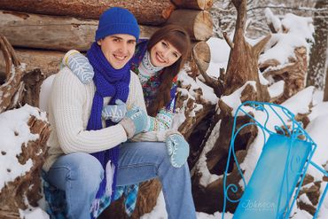 Winter blue engagement