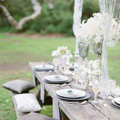 Outdoor spring wedding reception decor