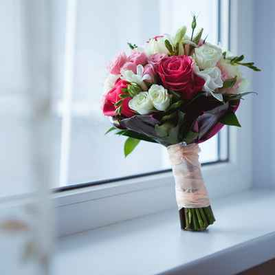 Red eustoma wedding bouquet