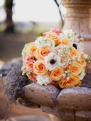 Orange anemone wedding bouquet