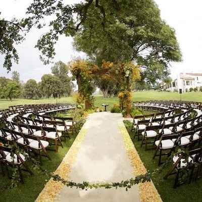 Outdoor autumn wedding ceremony decor