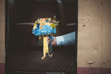 Yellow hydrangea wedding bouquet