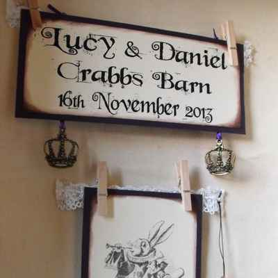 Themed brown wedding signs