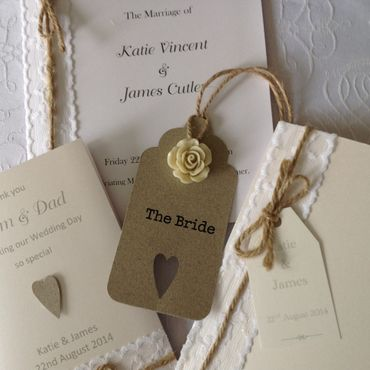Rustic ivory wedding invitations