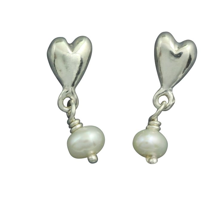 Silver/pearl drop earrings