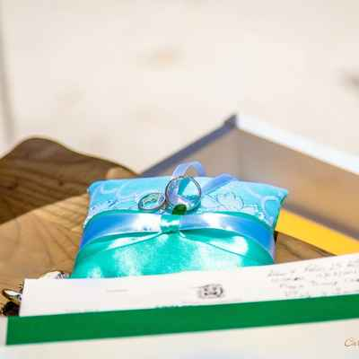 Blue wedding ring pillows