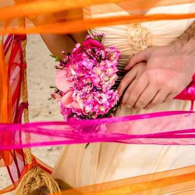 Beach purple rose wedding bouquet