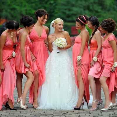 Orange long wedding dresses