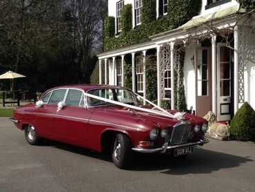 Vintage red wedding transport