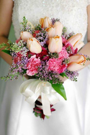 Orange peony wedding bouquet