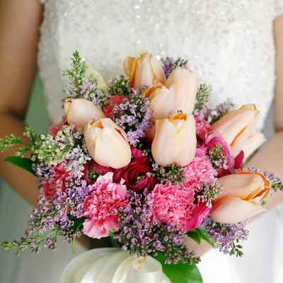 Orange peony wedding bouquet