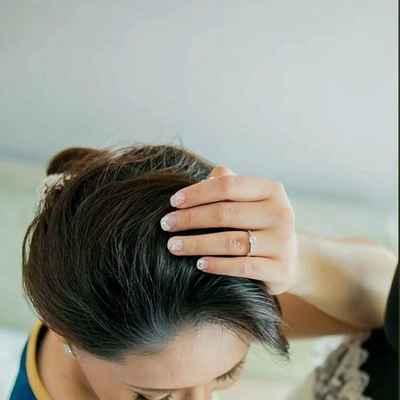 White wedding nail design