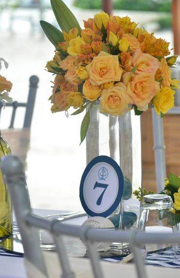Blue wedding floral decor