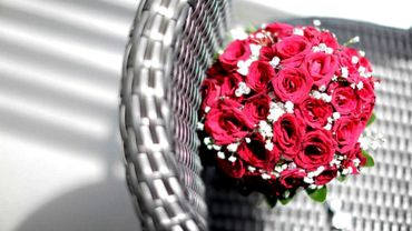 Pink rose wedding bouquet