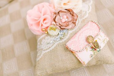 Vintage pink wedding ring pillows