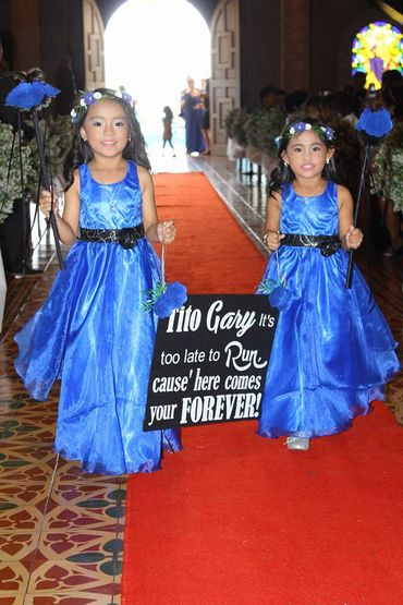 Blue kids at wedding