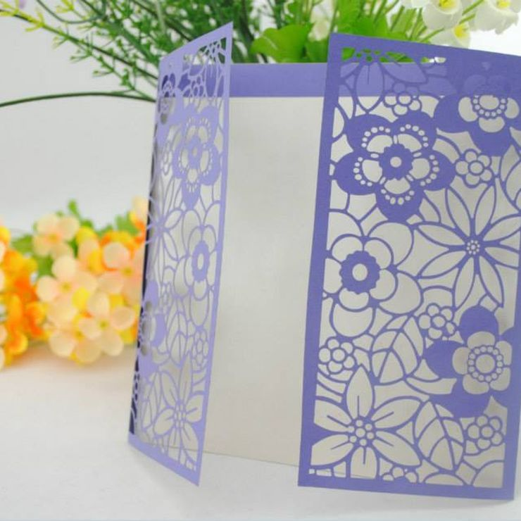 Blue and purple Laser Cut Invitations