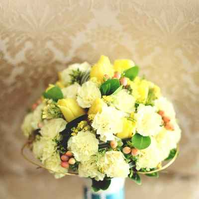 Yellow tulip wedding bouquet